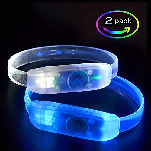 MASBRILL Light Up Party Favors 2 Pack Led Bracelets Glow in The Dark Party Supplies Flashing Glow Bracelets
