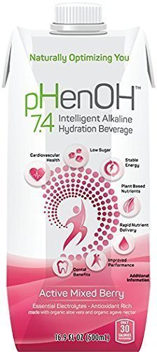 Phenoh 7.4 Alkaline Beverage Active Mixed Berry, 16.9 oz, Case of 12 - Energizing Mixed Berry Drink