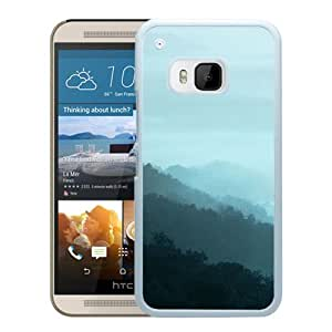 New Beautiful Custom Designed Cover Case For HTC ONE M9 With Mountain Fog Green Nature (2) Phone Case