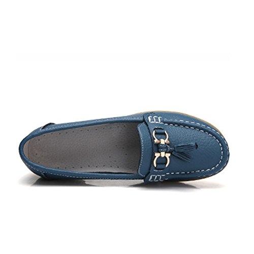 Blivener Donna Scarpe Piattaforma Casual Comfort In Pelle Mocassino Walking Lightblue
