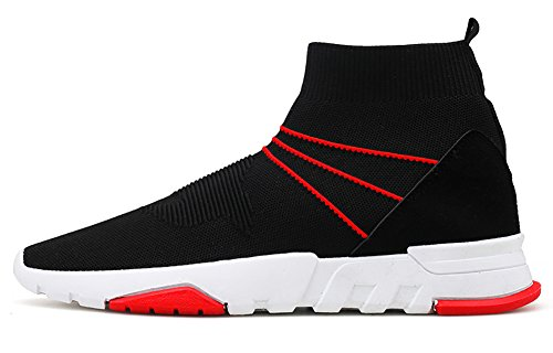 No.66 TOWN Men's High-top Socks Running Walking Shoes Breathable Flyknit Jogging Sneakers Size 8 Black-red
