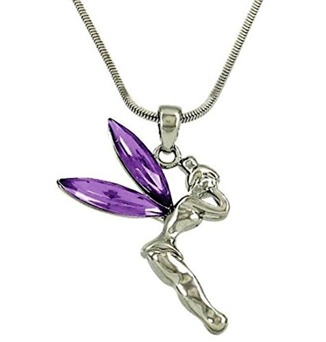 DianaL Boutique Beautiful Purple Tinkerbell Fairy Charm Pendant Necklace Jewelry