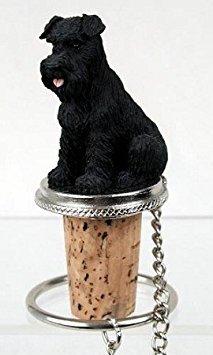 Schnauzer Black Uncropped Wine Bottle Stopper - DTB103A