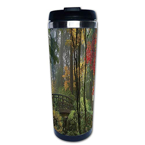Stainless Steel Insulated Coffee Travel Mug,Bridge at Portland Japanese Garden Oregon in Autumn,Spill Proof Flip Lid Insulated Coffee cup Keeps Hot or Cold 13.6oz(400 ml) Customizable printing