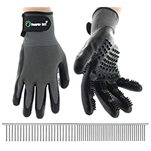 Cat and Dog Pet Grooming Glove: Pair of Hair Remover Glove Brushes for Shedding – Hand Brush for Cats and Dogs to Help… Click on image for further info.
