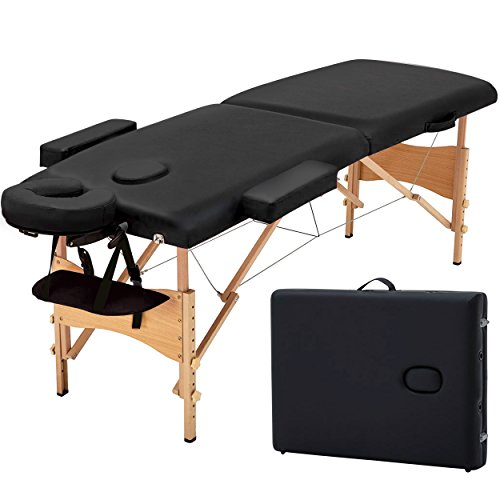 Blissun 84″ Portable Massage Table, Professional Folding Facial SPA Bed (Black)