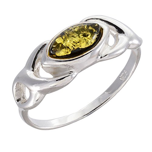 Sterling Silver and Baltic Green Amber Ring