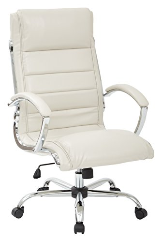 Office Star Faux Leather Seat and Back Contour Executive Chair with Padded Arms and Chrome Finish Accents, Cream