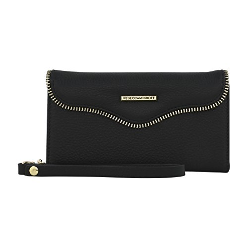 Rebecca Minkoff Wristlet, M.A.B. Tech Wristlet Case [Protective] Designer Wristlet fits Apple iPhone 8 plus and 7 Plus(5.5) - Black Leather