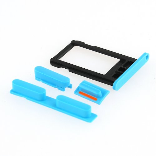 Blue Side Volume Key+Power Button+Mute Switch+Micro SIM Card Slot Tray For iPhone 5C