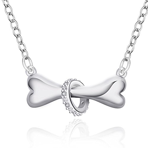 Love Paw Silver Dog Bone Tag Rolo Chain Collar Pendant Necklace Doggie Puppy Pet for Dog Lovers