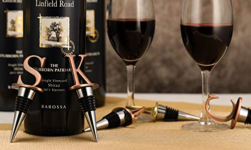 Wine Stoppers,Reusable Wine Bottle Stoppers ,Stainless Steel Letter Wine Stopper, Food Grade Silicone Material Decorative Wine Stoppers Funny Gift -Bronze Color (Letters P)