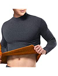 XuBa Men Double Layer Thermal Underwear Thickened Medium Collar Warm Fall Winter Tops