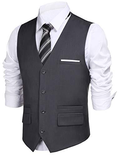 4 Button Gray Dress Suit - Daupanzees Mens Vests Adult Gangster Suit Vest Premium Dress Coat Waistcoat Blazer 4 Button Vests (Gray L)