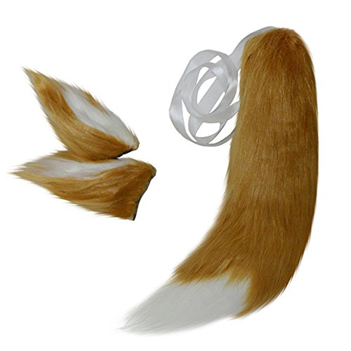 Anime Spice and Wolf Holo Kamisama Kiss Fox/Cat Plush Tail Ears Prop Cosplay (Brown)