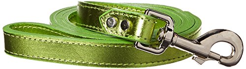 OmniPet Signature Leather Dog Lead, 3/4 x 4', Metallic Lime Green