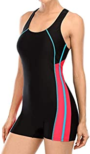 BeautyIn Women's Swimsuit Boyleg Racerback One Piece Athletic Bathing