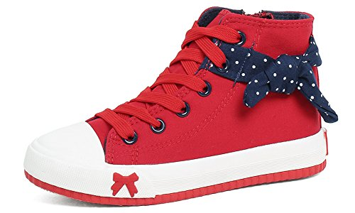 Zoe's Girl's High Top Bowknot Canvas Shoes Casual Sneakers Comfort Board Shoes