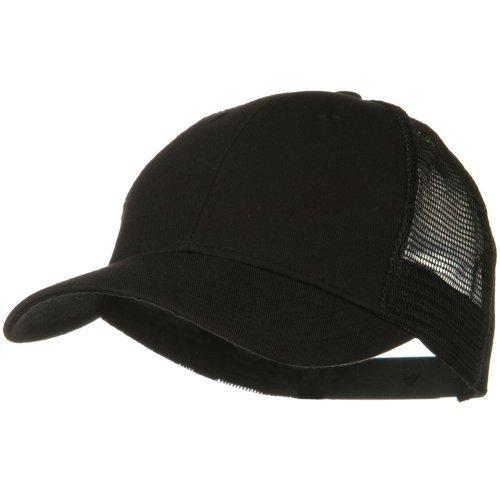 OTTO Solid Cotton Twill Low Profile Nylon Mesh Back Cap - Black