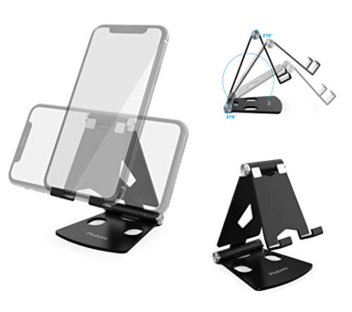 SHREBORN Adjustable Desktop Cell Phone Holder -Double 270 Degrees Rotation Foldable Cell Phone Stand Compatible with iPhone Xs Max XR X 8 Plus Galaxy S9 S10 LG Note 8 Pixel 3 All Android Phone - Black