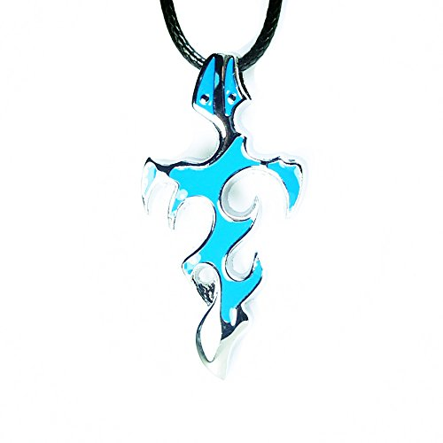 BODYA Men's Stainless Steel blue Tribal Sword Cross Pendant Necklace Gothic Punk gothic jewelry