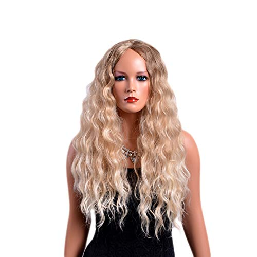 (28 Inches Long Curly Wigs for Women Blonde Color American Afro Synthetic Hair Ombre)