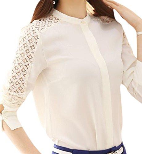 erdbeerloft - Damen Langarm Bluse mit Spitzendetails, Weiß, XS-2XL