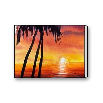 amazon com freestyle watercolor coconut tropical beach plant sunset
