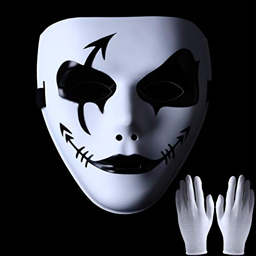 Boao Halloween Creepy Ghost Cosplay Full Mask and White Gloves for Halloween Masquerade Party