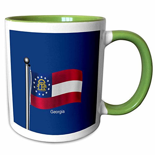 (3dRose 777images Flags and Maps - States - Waving flag of the state of Georgia with dark blue background - 15oz Two-Tone Green Mug (mug_180534_12))