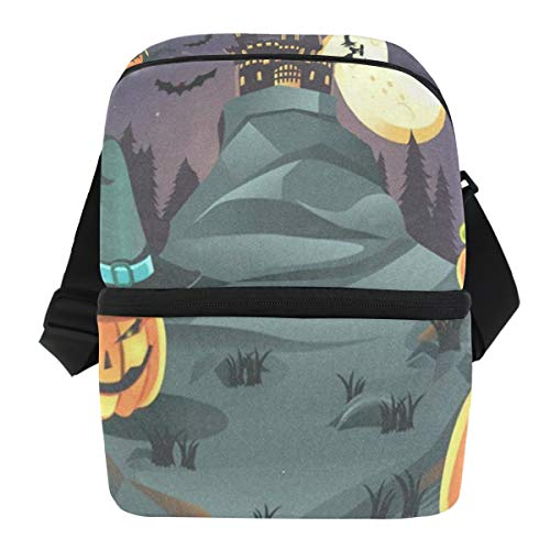 Lunch Bag Halloween Pumpkins Portable Cooler Bag Womens Leakproof Lunch Organizer Zipper Tote Bags for Party ()