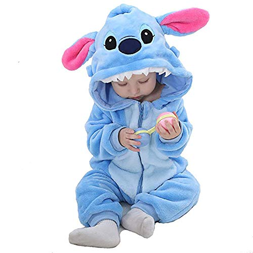 (Unisex Baby Flannel Romper Animal Onesie Costume Hooded Cartoon Outfit Suit (Stitch,)