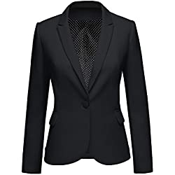 LookbookStore Women's Black Notched Lapel Pocket Button Work Office Blazer Jacket Suit Size XXL