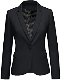 Womens Notched Lapel Pocket Button Work Office Blazer...