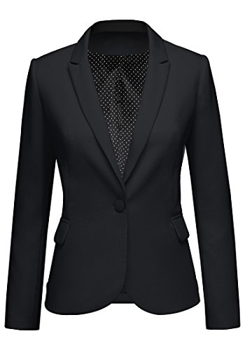 Lookbook Store Women's Black Notched Lapel Pocket Button Work Office Blazer Jacket Suit Size L - Notched Lapel Blazer