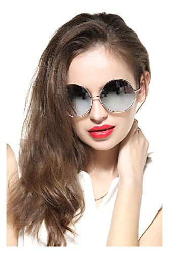 GEELOOK Oversized Round Circle Mirrored Hippie Hipster Sunglasses - Metal - Round Glass Chain