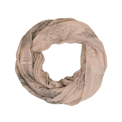 GERINLY Pastel Floral Print Womens Cozy Infinity Loop Scarf (Khaki) (Party Framed Tea)