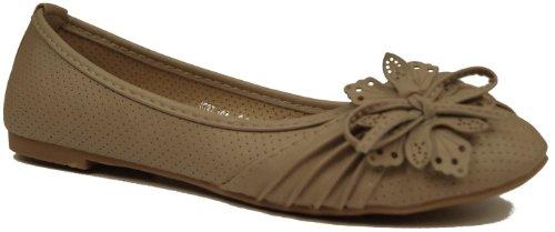 modisch klassische Damen Ballerinas Freizeit Sommer Schuhe Mokassins Loafer mit Schleife Khaki