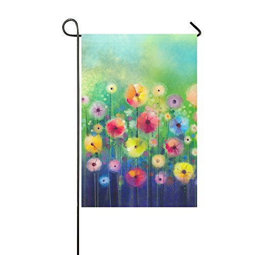 InterestPrint Seasonal Nature Spring Summer Autumn Winter Flower Long Polyester Garden Flag Banner 12 x 18 Inch, Abstract Floral Watercolor Decorative Flag for Wedding Home Garden Decor