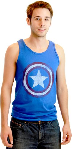 Tank Top: Captain America - Distressed Shield on Royal Size XL