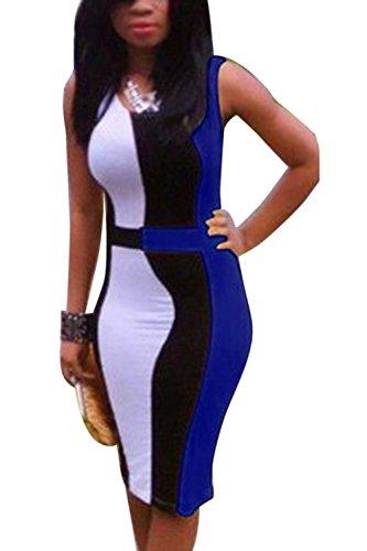 Vosujotis Night Colorblock Robe Femmes t Mini Occasionnels Manches Les Sans Blue Bodycon Club qS4wSxt