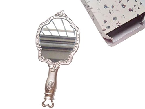 Girls Embossed Vintage Make-Up Hand Table Mirror Hand Held Makeup Mirror Princess Style Ideal Gift by KINGSEVEN (Image #3)