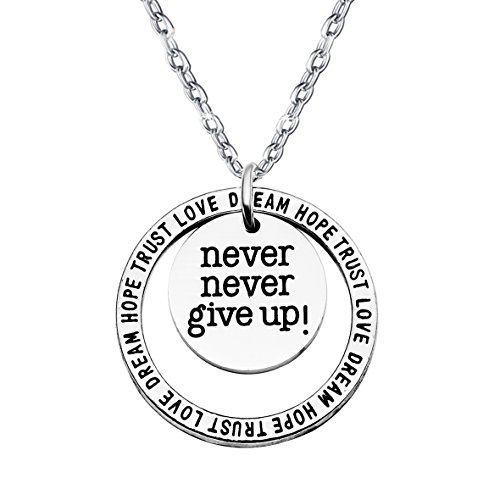 Double Pendant Necklace Inspirational Gift Family Best Friends Never Never Give Up Trust Love Hope Dream
