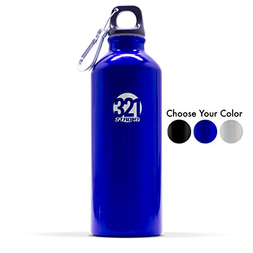 - 321 STRONG 500 mL (16.9 Fluid Ounce) Aluminum Water Bottle, Metallic Blue