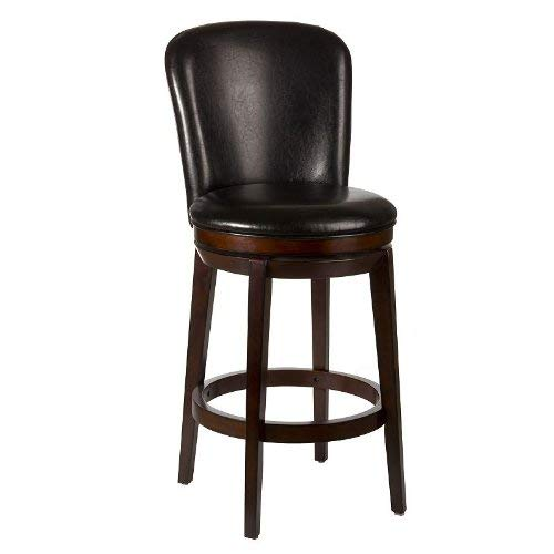 Hillsdale Victoria Swivel Counter Stool, Chestnut Black Vinyl Swivel Counter Stool