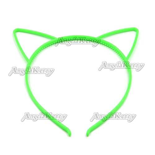 AngelaKerry 50pcs Grass Green Cat Ear Plastic Headbands Hairbands Bow for Girl's Fashion Party DIY (Grass Green, Pack of 50pcs)
