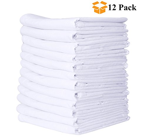 (Linen and Towel, 12 Pack Premium Flour-Sack Towels, 28 inch x 28 inch White, 100% Ring Spun Cotton, 130 Thread Count Multi-Purpose Kitchen Napkin, Highly Absorbent Flour Sack Dish Towels )