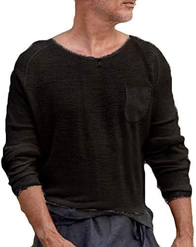 メンズニットセーター メンズ ニット メンズラウンドネックポケットニットトップ 細身 無地 ニット カジュアル 防寒 長袖 カジュアル セーター