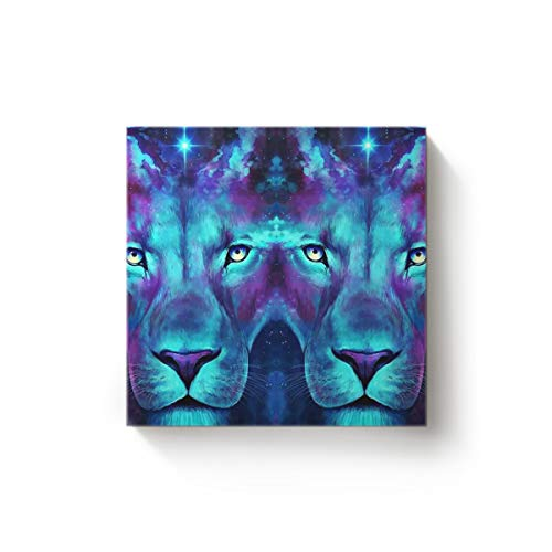 EZON-CHModern Canvas Wall Art Square Artwork Bedroom Living Room Home Office Decoration,Cool 3D Lion Face Animal Pattern Poster Paintings,Stretched by Wooden Frame,Ready to Hang,12x12 Inch -