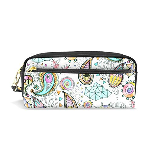 WIHVE Geometric in Paisley Style PU Leather Pencil Case Pen Holder Stationery Pouch Bag Makeup Cosmetic Bag Large Capacity ()